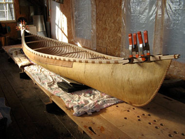 Nearly finished canoe