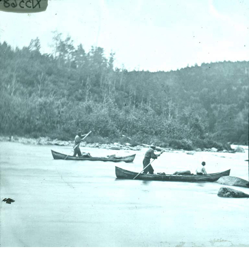 Wolastoqew Men Poling Canoes on the Tobique River, New Brunswick