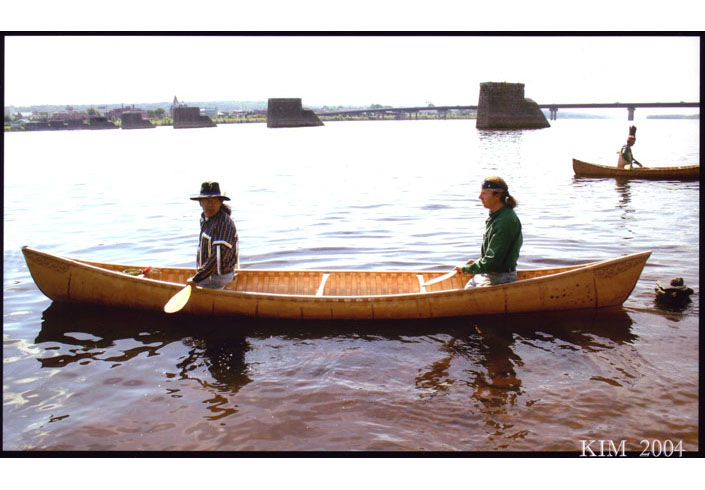 Wayne Brooks and Steve Cayard in the 18-foot canoe.  Photo by Kim Brooks
