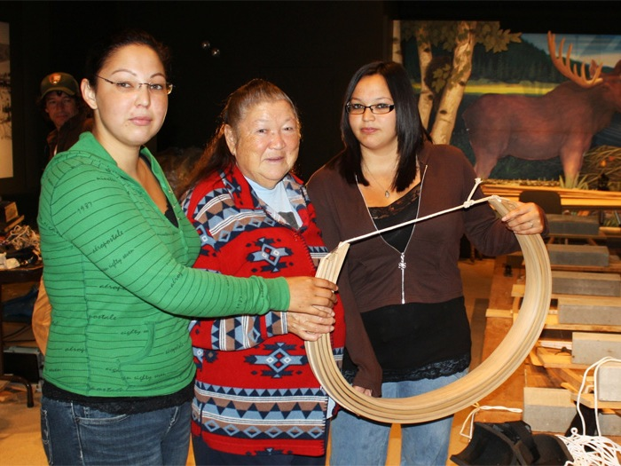 Some of the crew with tribal elder Joan Dana, maker of the world's best moose stew; photo courtesy of Donald Soctomah